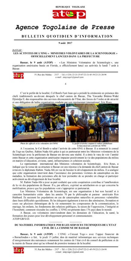 Dépêche ATOP sur les Ministres Volontaires de Scientologie à Bassar