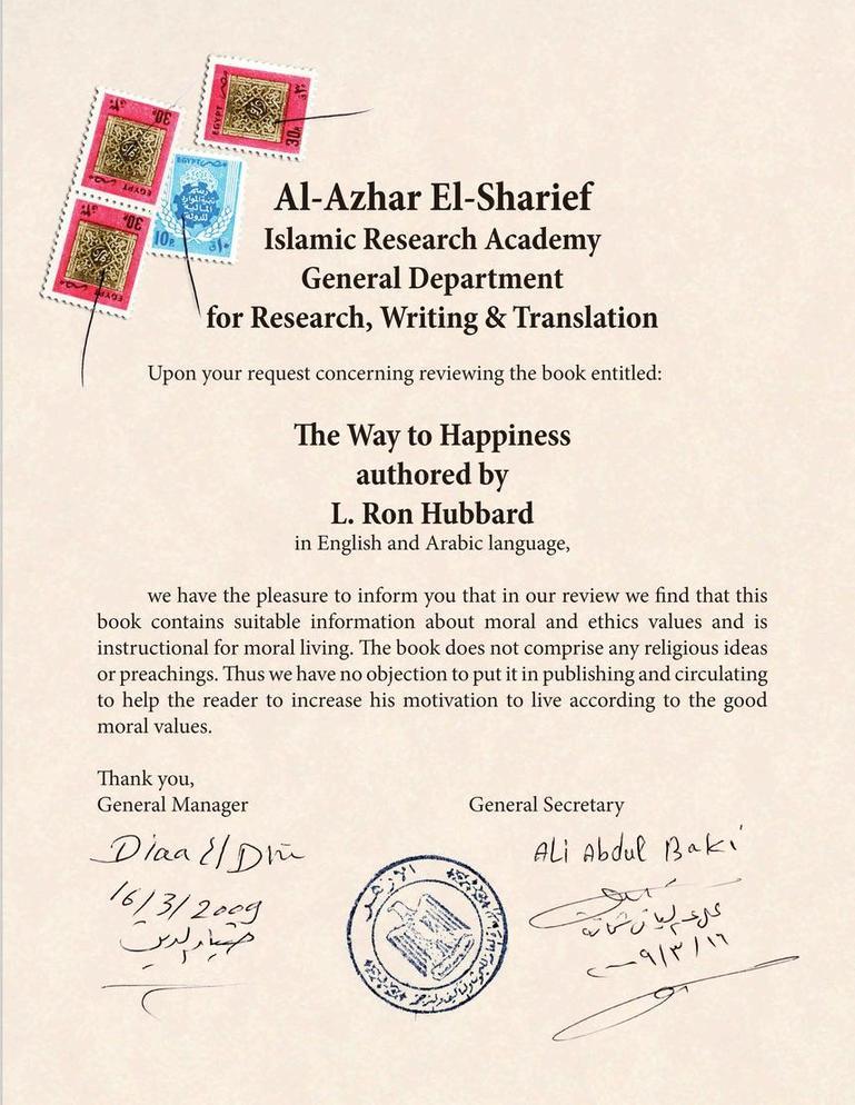 Le Chemin du Bonheur de L. Ron Hubbard jugé compatible avec la religion musulmane