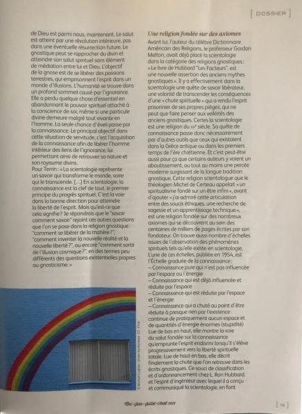 Article sur la scientologie et la gnose dans le magazine Rebelles