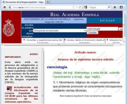 """Le mot Scientologie fait son entrée dans le """"Real Academia Española de la Lengua"""""""