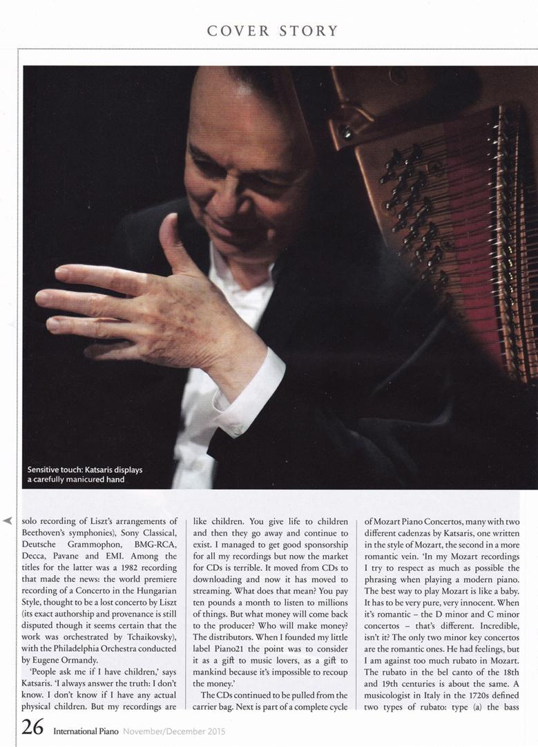 Cyprien Katsaris à la une de Piano International